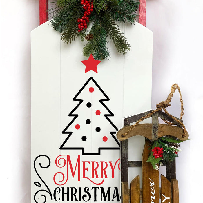 Large Wooden Sled, Decorative Wooden Sled, Personalized Wooden Sled, Holiday Porch Decor, Outdoor Holiday Decor, Christmas Sled, Porch Sled - Lola's Design Loft