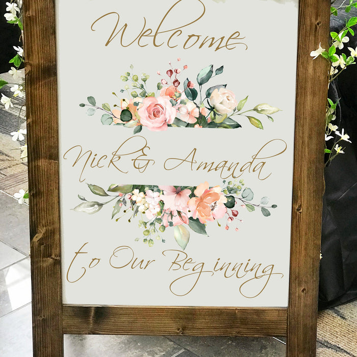 Wedding Welcome Sign, Wedding Sign, Monogram Wedding Sign, Rustic Wood Wedding Sign, Wedding Ceremony Sign, Personalized Wedding Sign - Lola's Design Loft