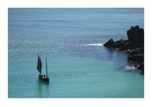 A Cornish Lugger Drops Anchor in Porthcurno