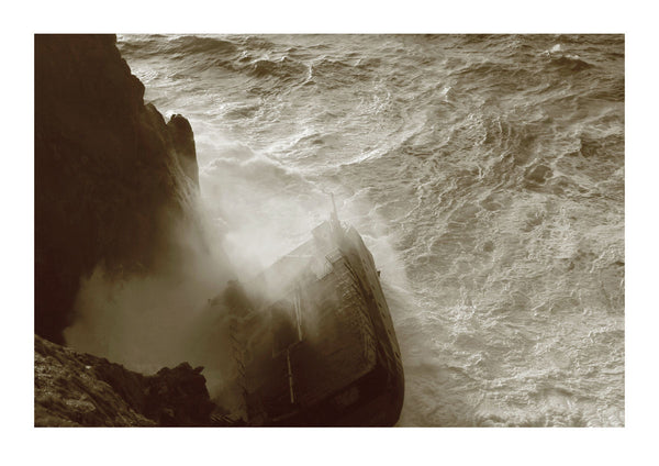 Wave Breaking Over Shipwreck - Cornish Coast