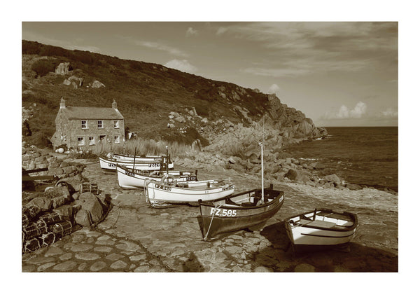 Small Fishing Boats at Penberth Cove in Cornwall