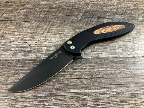 Pro-Tech Cambria Black DLC Maple Burl CF07 154CM Flipper USA
