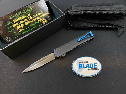Heretic Knives Manticore X Custom SW DLC Double Edge Blue Titanium Hardware  OTF Automatic USA