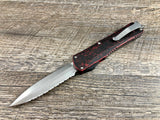 Heretic Knives Manticore X Breakthrough Red H032-2C-BRKRD Stonewash Full Serrated Double Edge OTF Automatic USA