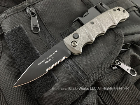 Boker Kalashnikov 74 Automatic Knife Gray Black Serrated 01KALS74BN