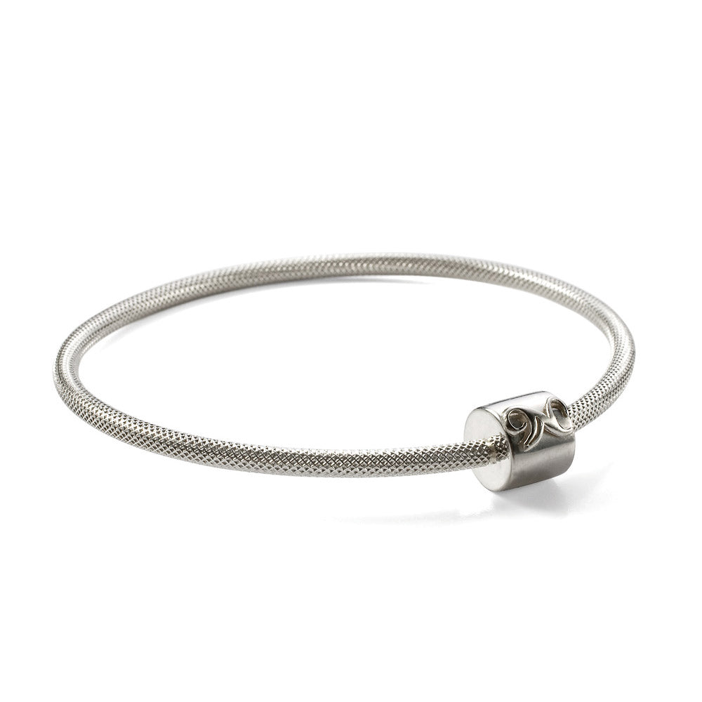 Novobeads Signature N Bangle in Silver