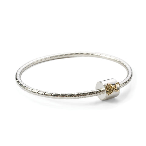 Novobeads Signature N Bangle in 14K Gold