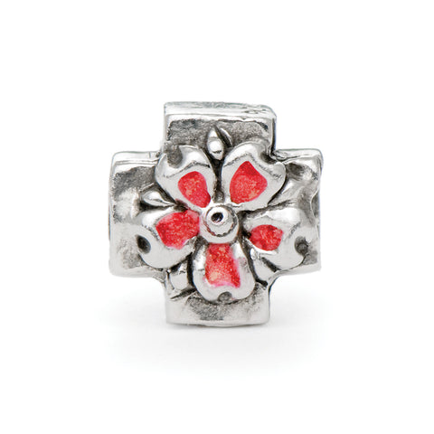 Novobeads Flower Cross, Silver
