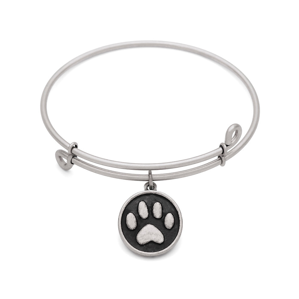 SOL Paw, Bangle Antique Silver Color Finish