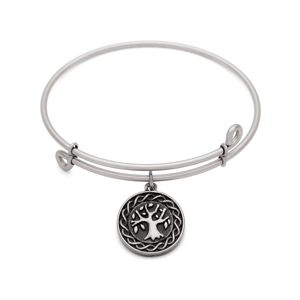 SOL Tree of Life, Bangle Antique Silver Color Finish