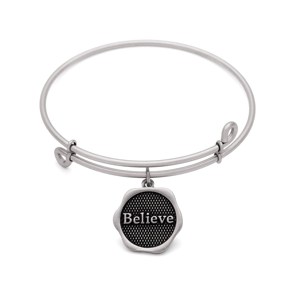 Novobeads Believe, Bangle Antique Silver Color Finish