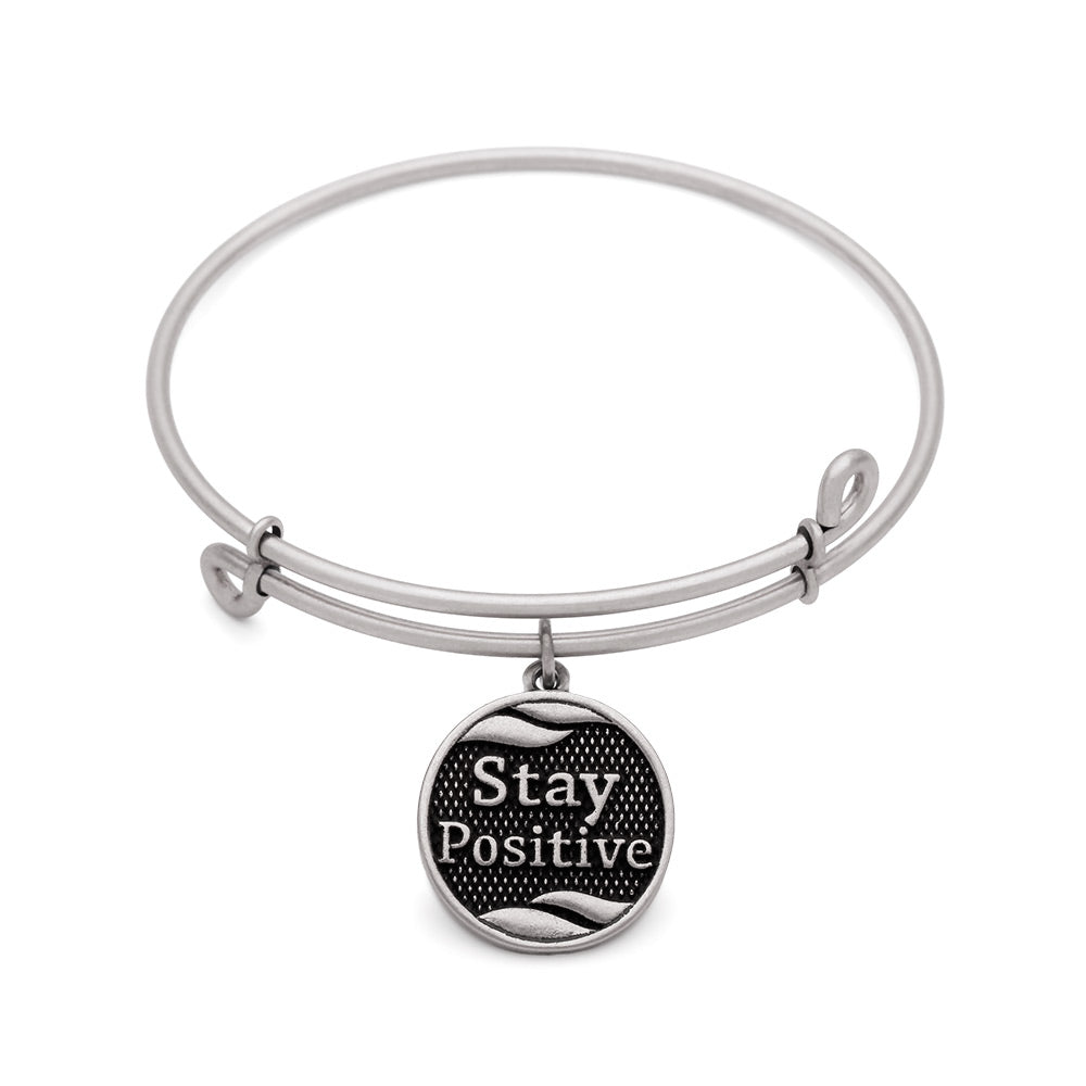 Novobeads Stay Positive, Bangle Antique Silver Color Finish