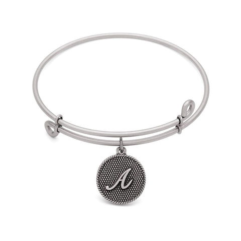 Novobeads Initial A, Bangle Antique Silver Color Finish