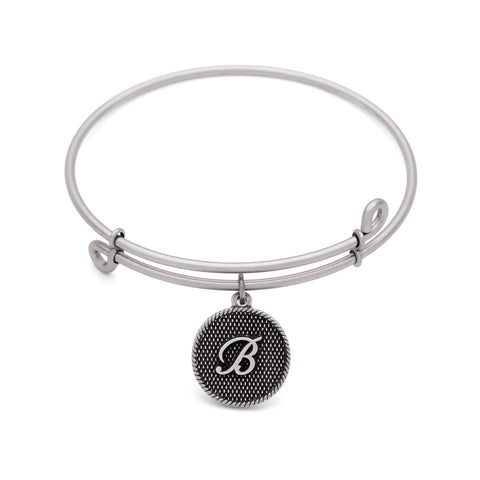 Novobeads Initial B, Bangle Antique Silver Color Finish