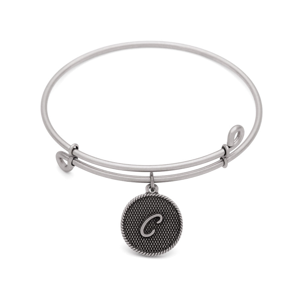 SOL Initial C, Bangle Antique Silver Color Finish