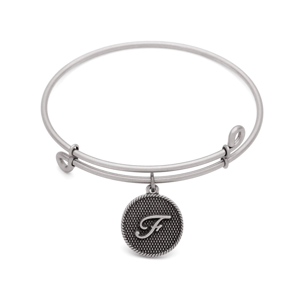 SOL Initial F, Bangle Antique Silver Color Finish
