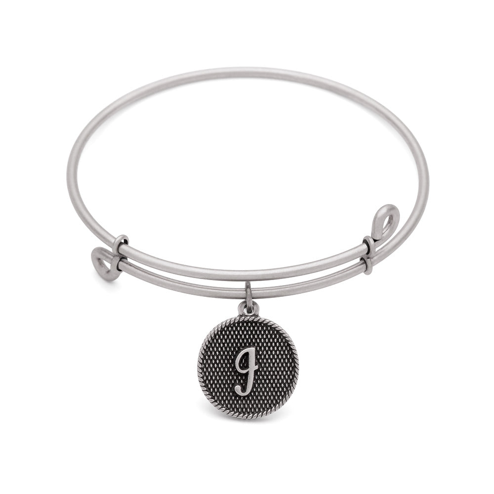 SOL Initial I, Bangle Antique Silver Color Finish