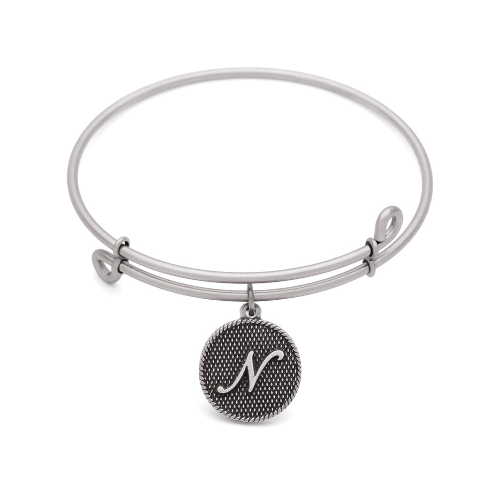 SOL Initial N, Bangle Antique Silver Color Finish
