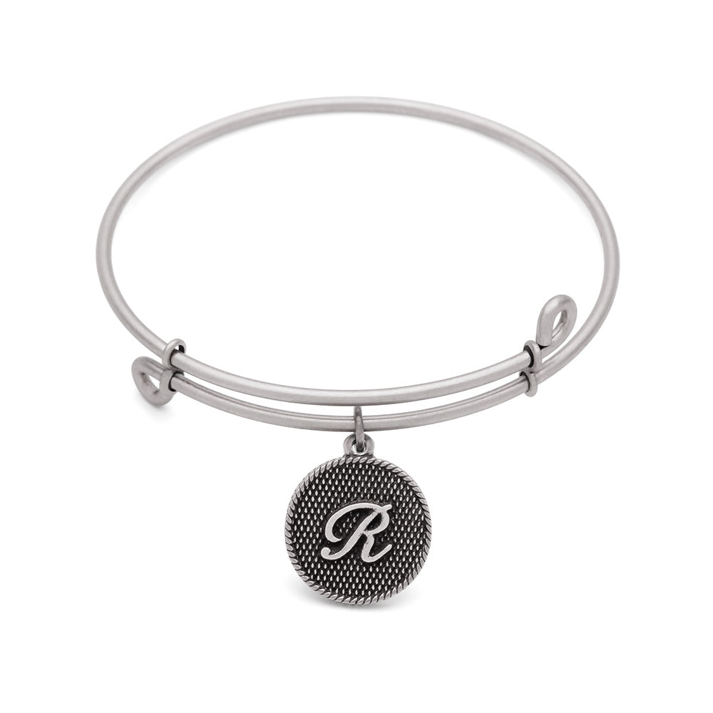 SOL Initial R, Bangle Antique Silver Color Finish