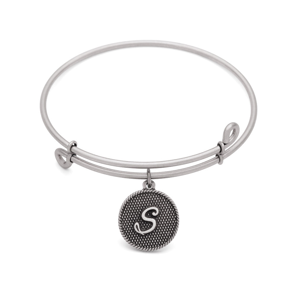 SOL Initial S, Bangle Antique Silver Color Finish