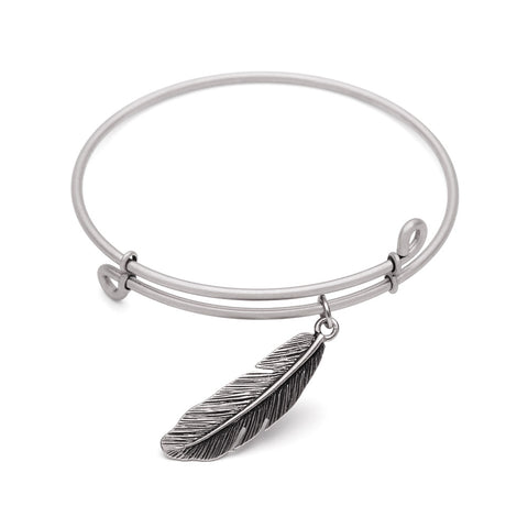Novobeads Feather, Bangle Antique Silver Color Finish