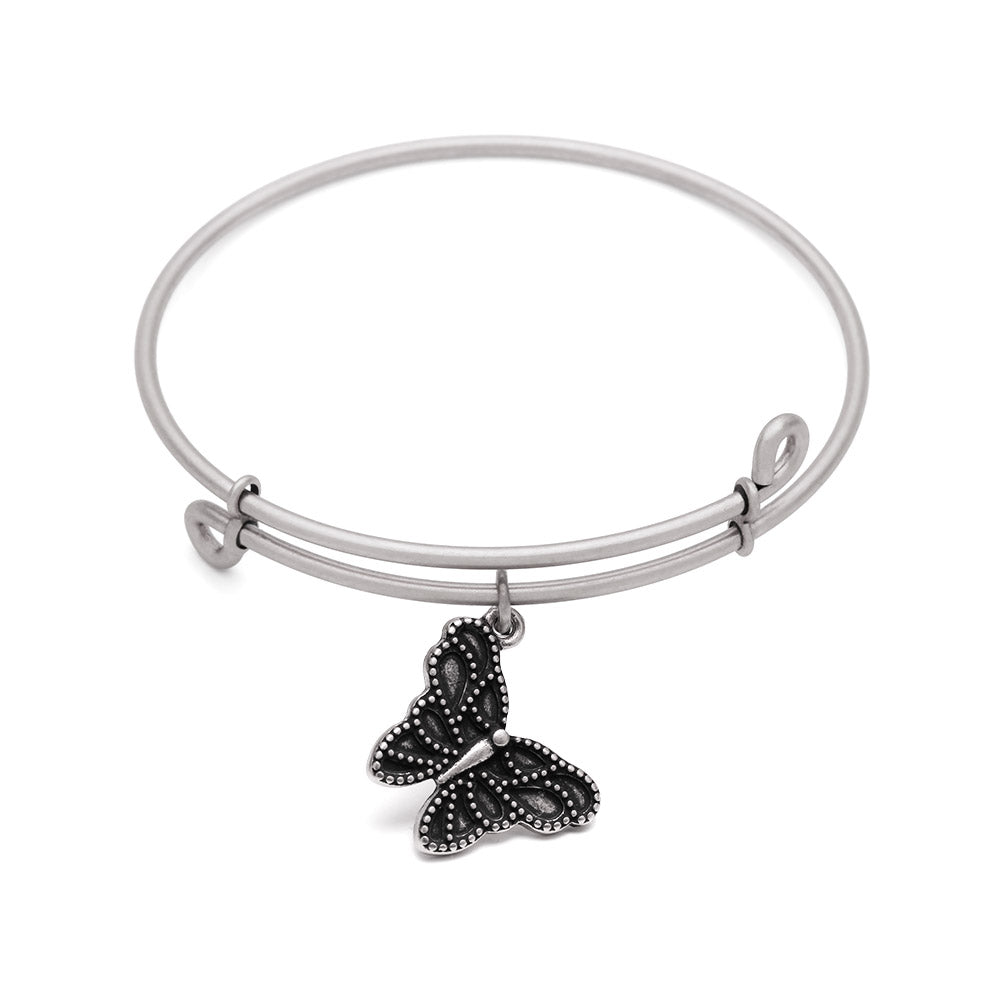 SOL Butterfly, Bangle Antique Silver Color Finish