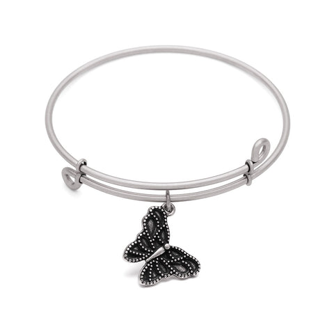 Novobeads Butterfly, Bangle Antique Silver Color Finish