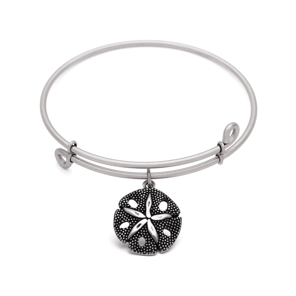 SOL Sand Dollar, Bangle Antique Silver Color Finish