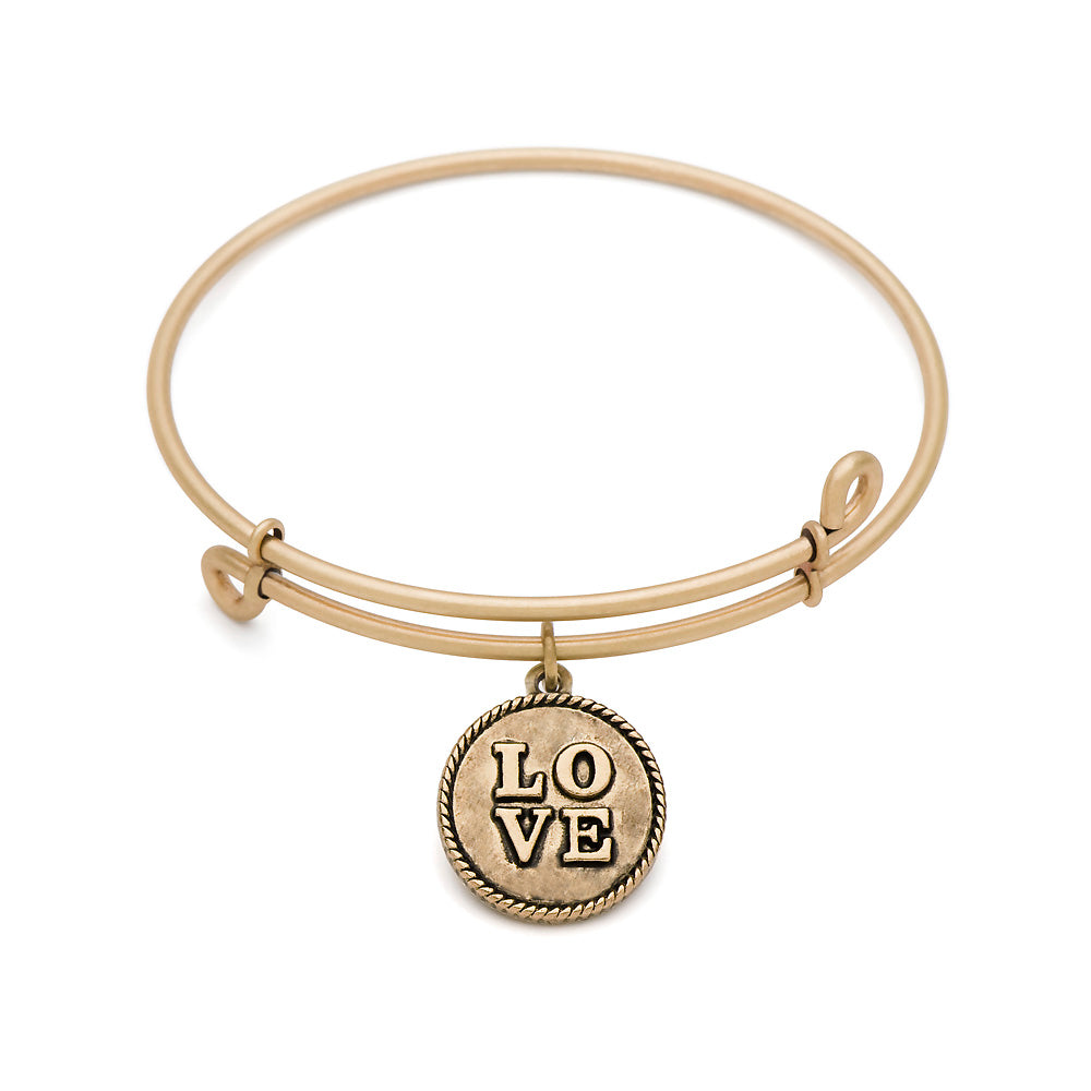 SOL Love, Bangle Antique Gold Color Finish