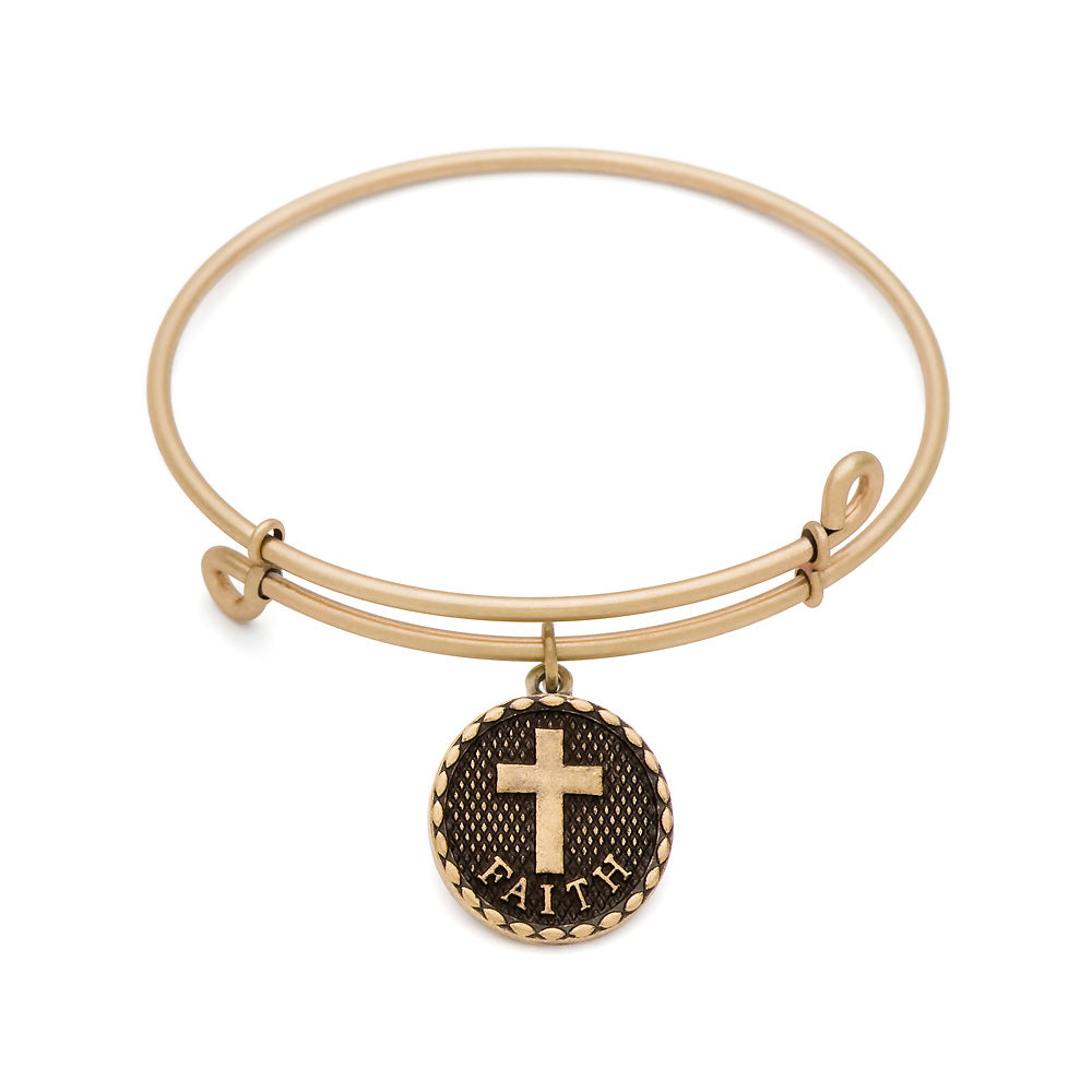 SOL Cross, Bangle Antique Gold Color Finish