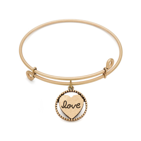 Novobeads Heart, Bangle Antique Gold Color Finish