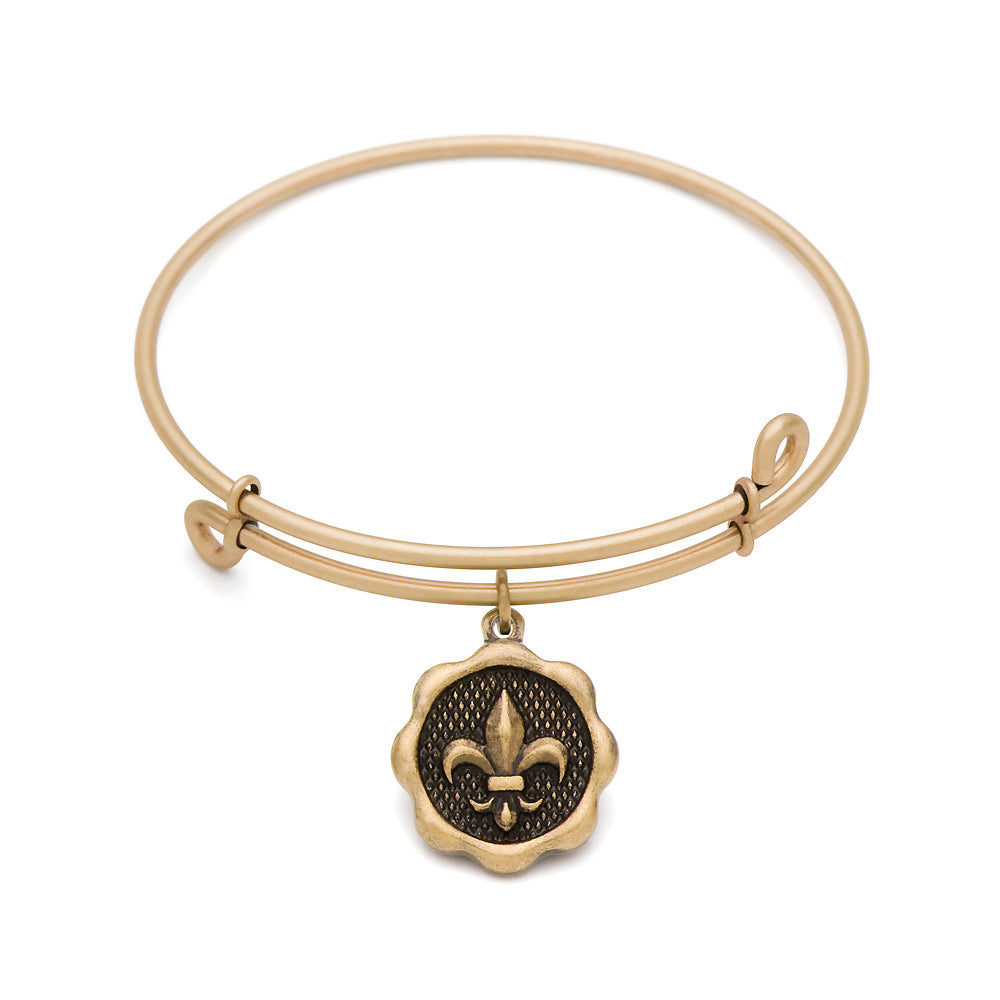SOL Fleur-de-Lis, Bangle Antique Gold Color Finish