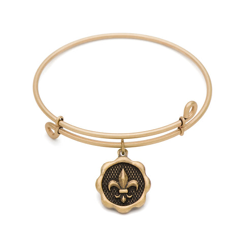Novobeads Fleur-de-Lis, Bangle Antique Gold Color Finish