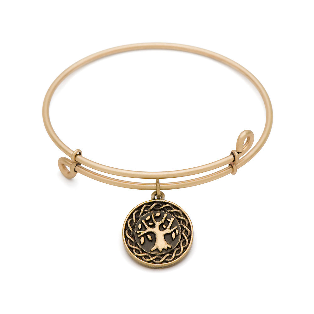 SOL Tree of Life, Bangle Antique Gold Color Finish