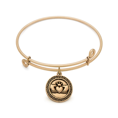 Novobeads Claddagh, Bangle Antique Gold Color Finish