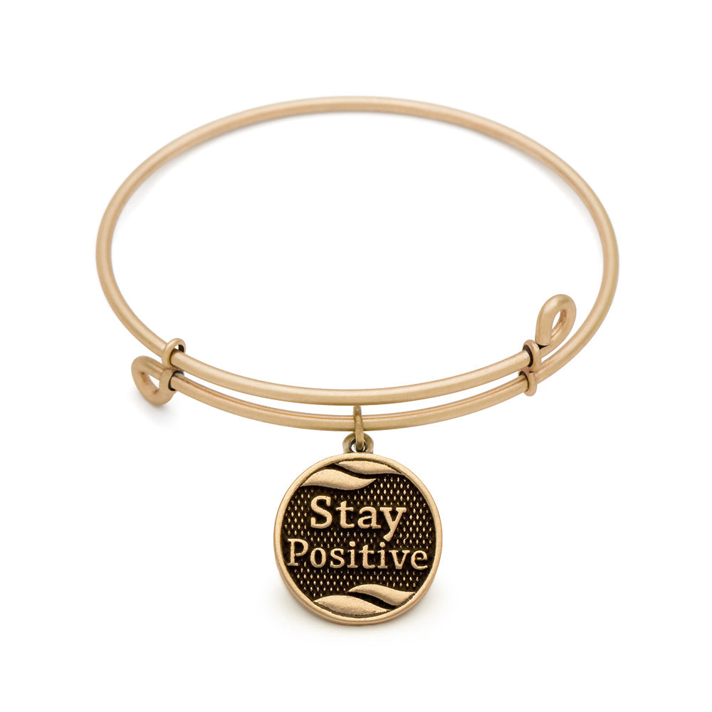 SOL Stay Positive, Bangle Antique Gold Color Finish