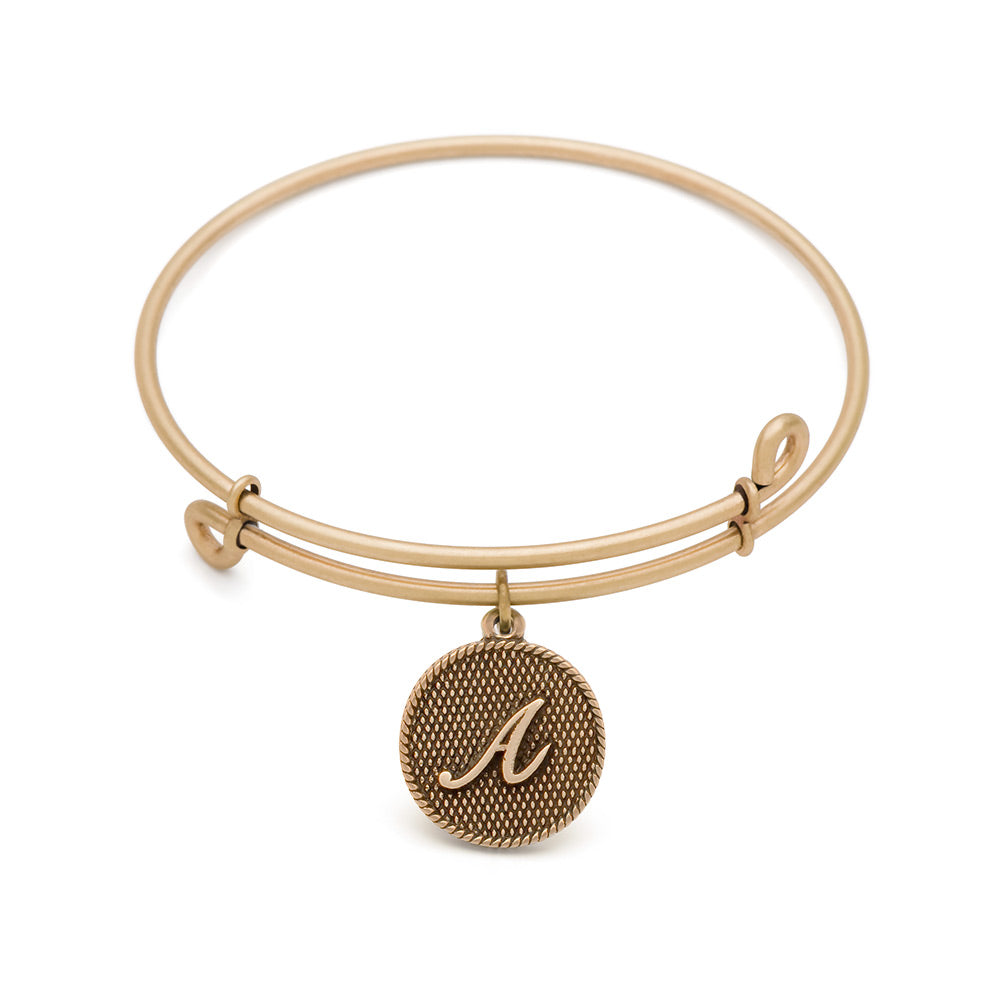 Novobeads Initial A, Bangle Antique Gold Color Finish