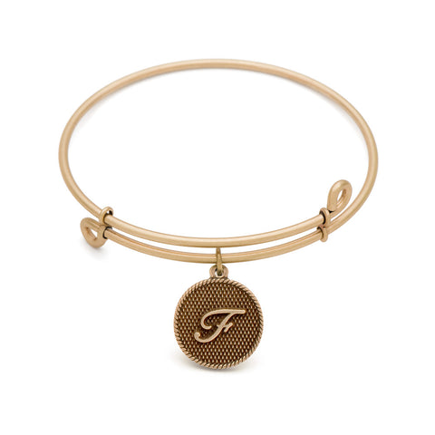 SOL Initial F, Bangle Antique Gold Color Finish