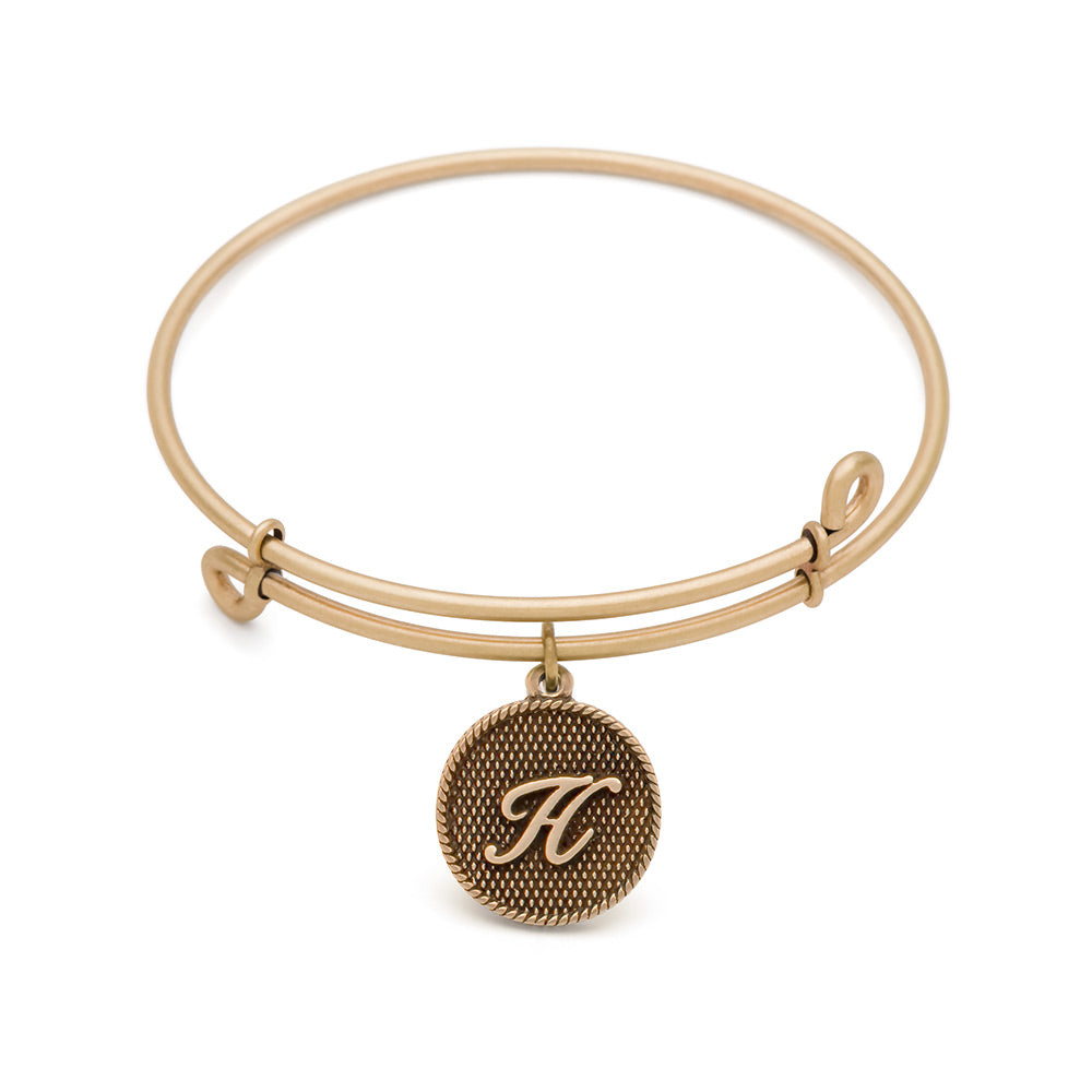 SOL Initial H, Bangle Antique Gold Color Finish