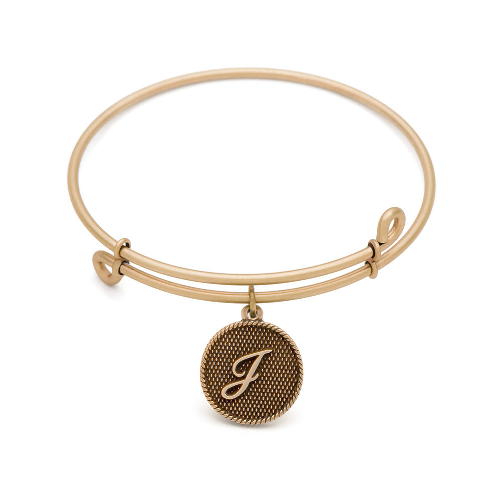SOL Initial J, Bangle Antique Gold Color Finish