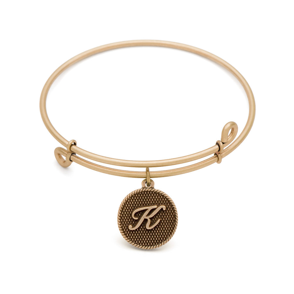 SOL Initial K, Bangle Antique Gold Color Finish