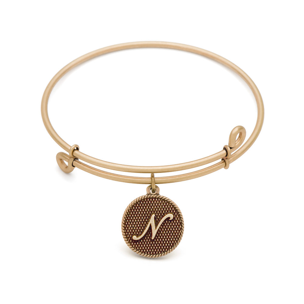 SOL Initial N, Bangle Antique Gold Color Finish