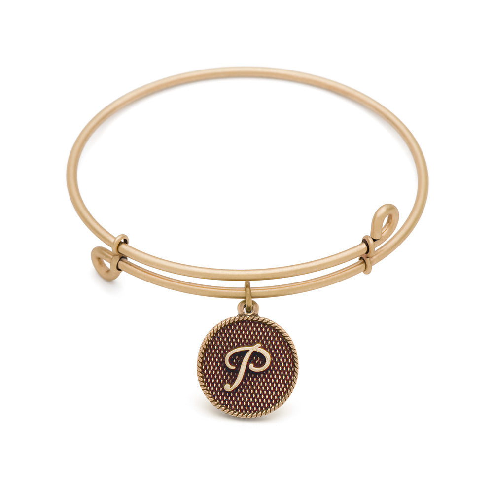 SOL Initial P, Bangle Antique Gold Color Finish