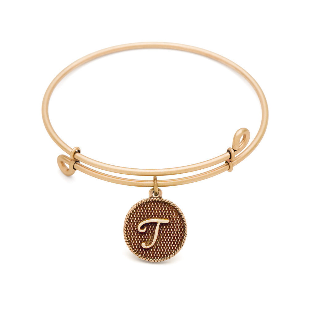 SOL Initial T, Bangle Antique Gold Color Finish