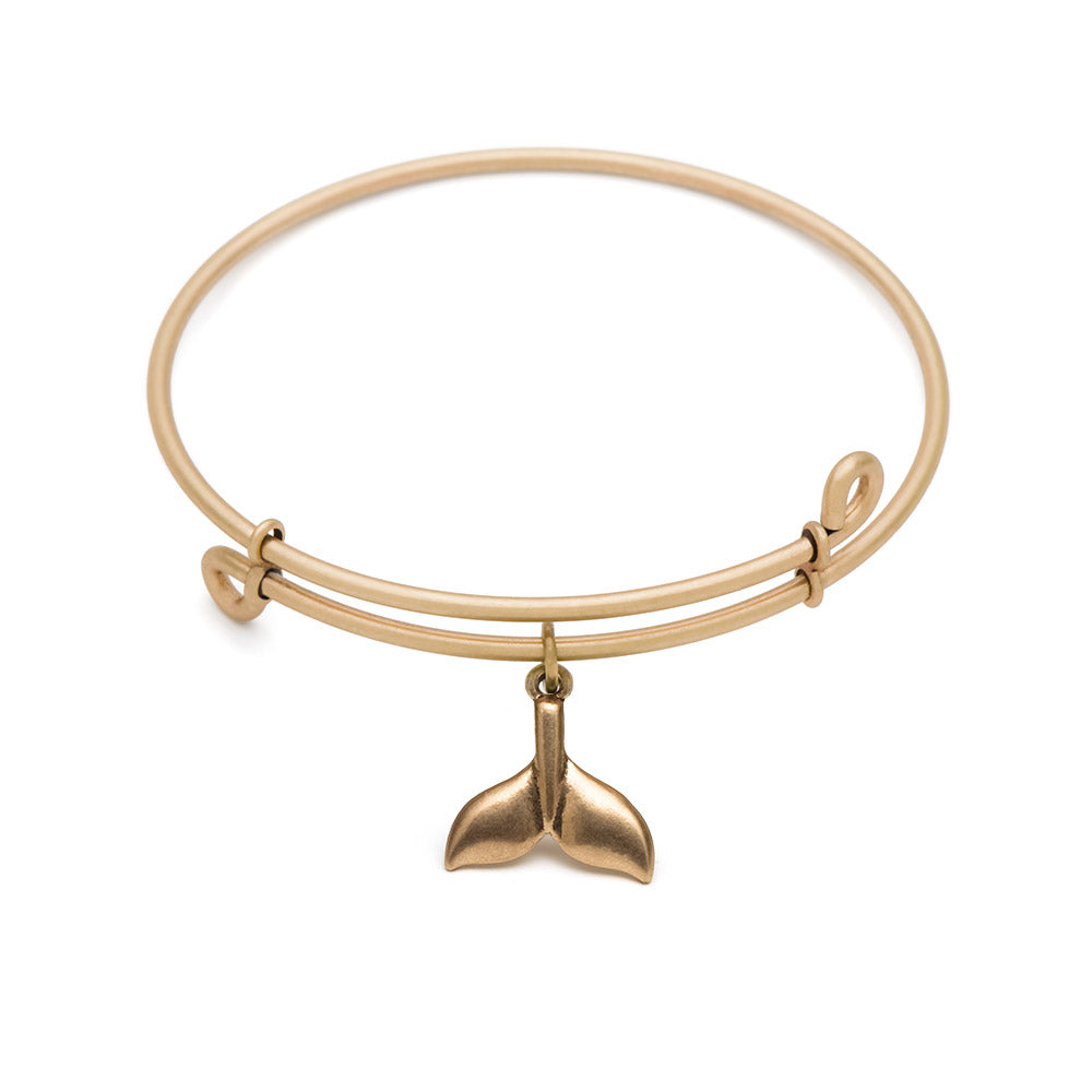 Novobeads Whale Tail, Bangle Antique Gold Color Finish