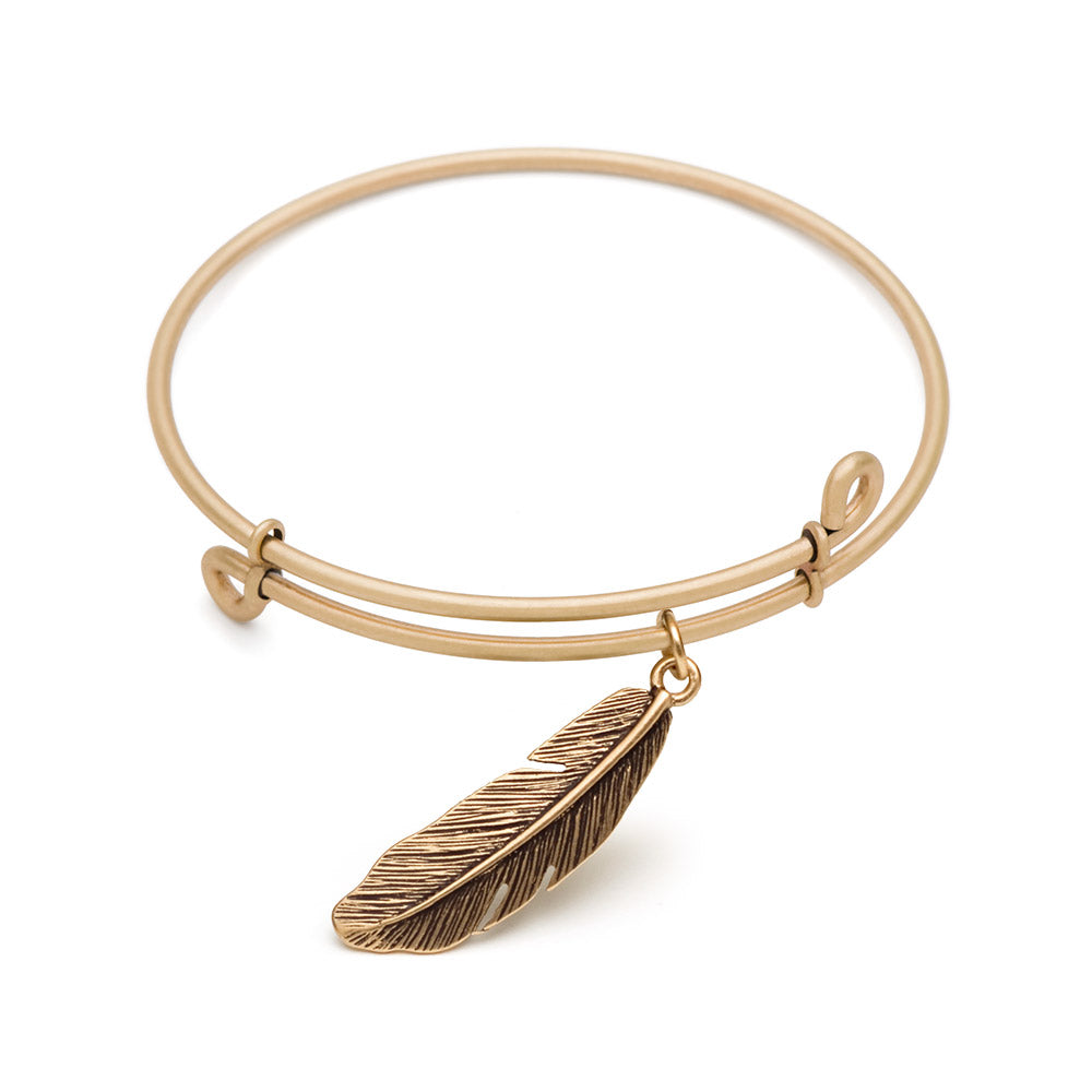 SOL Feather, Bangle Antique Gold Color Finish