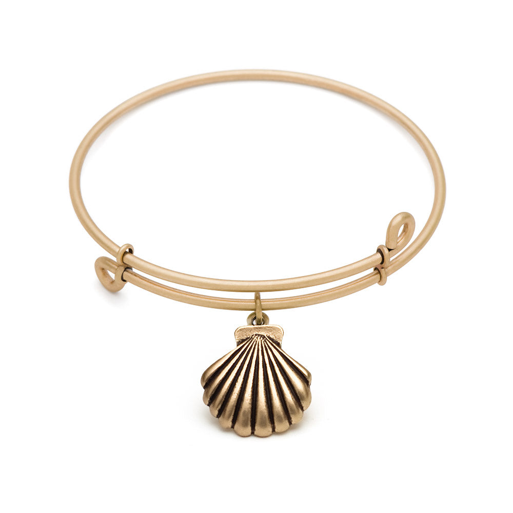 SOL Seashell, Bangle Antique Gold Color Finish
