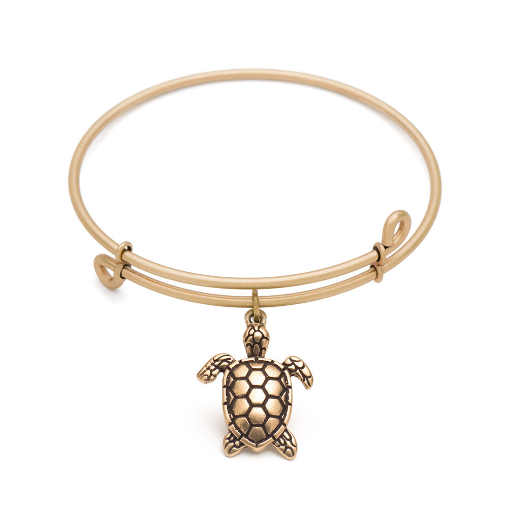 Novobeads Sea Turtle, Bangle Antique Gold Color Finish