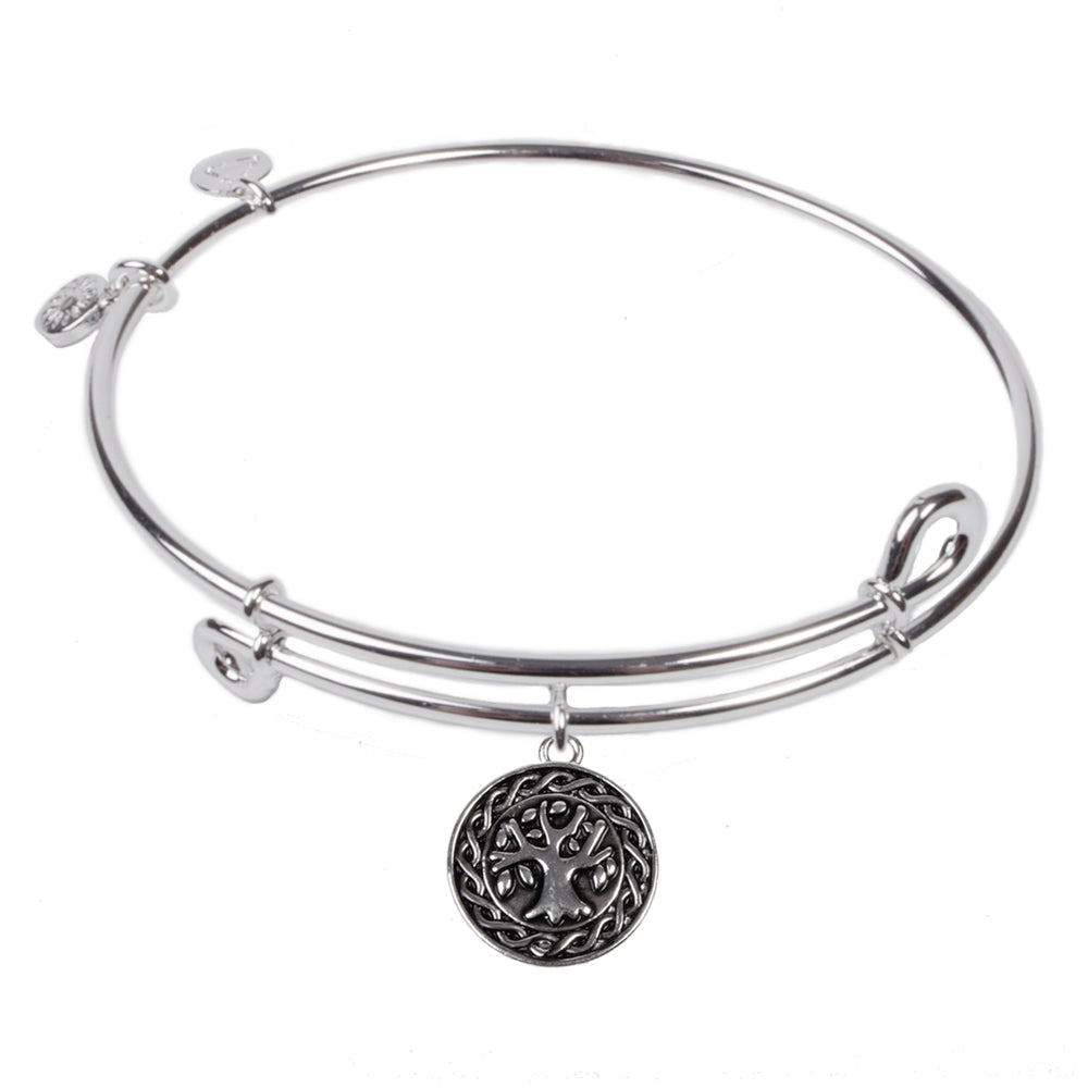 SOL Tree of Life, Bangle Sterling Silver Plated