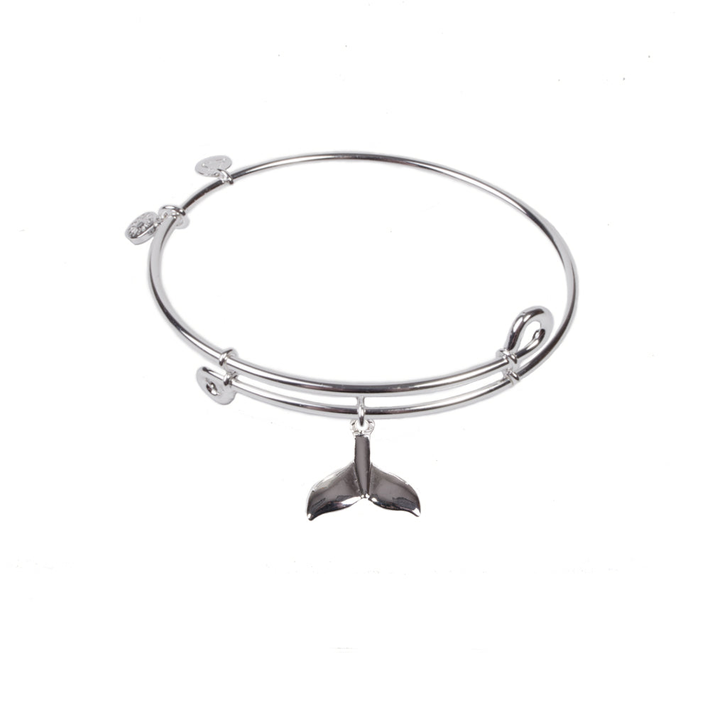 SOL Whale Tail, Bangle Sterling Silver Plated